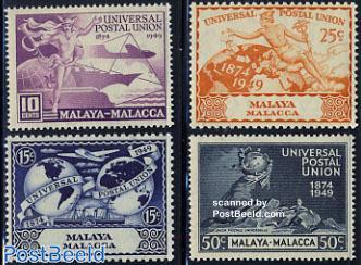 Malacca, 75 years UPU 4v