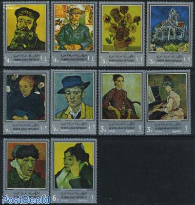 Van Gogh paintings 10v, silver borders