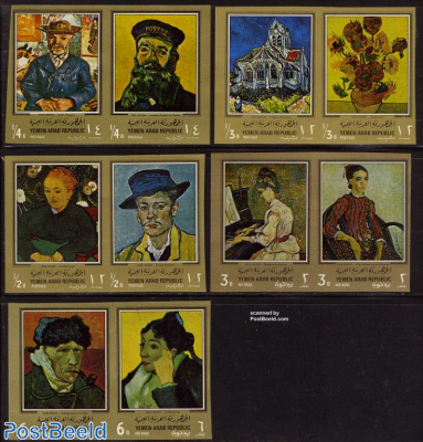Van Gogh paintings 10v, gold borders imperforated